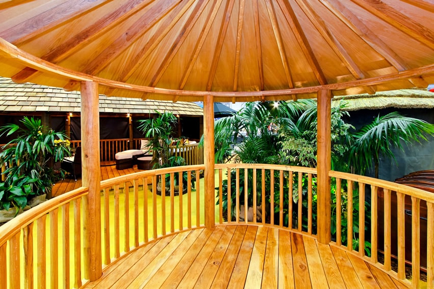 Inside beautiful wood gazebo