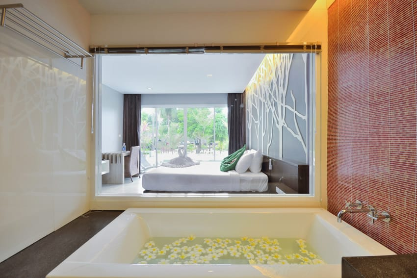 Inside modern bedroom wall mural bathtub