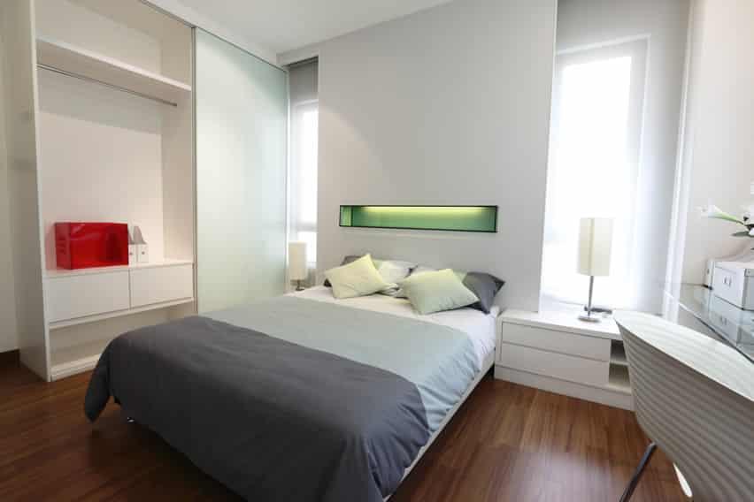 Interior view modern bedroom minimal decor