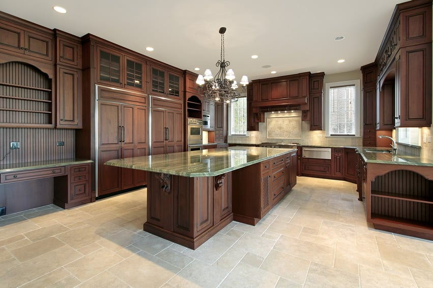 Custom Kitchen Design Ideas semi custom kitchen cabinets Large Custom Kitchen With Dark Wood And Green Granite Countertops