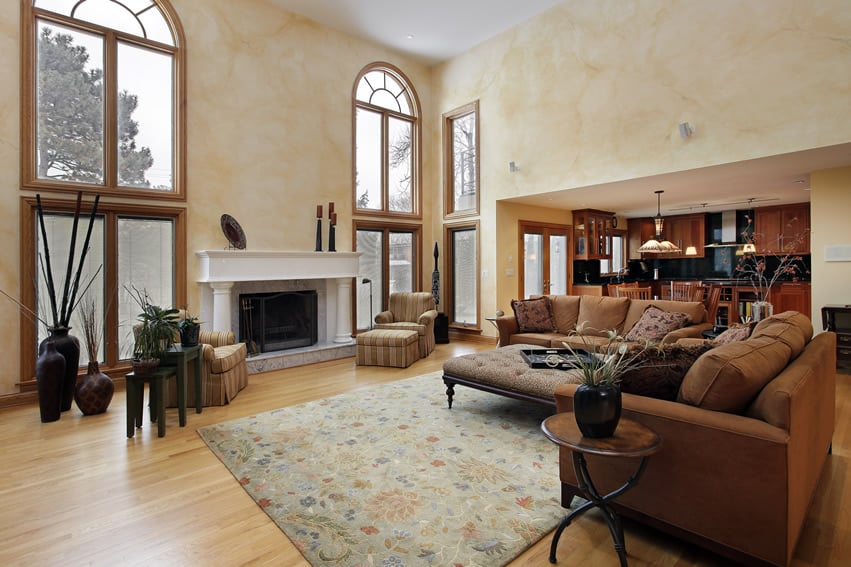 Large family room with high ceilings