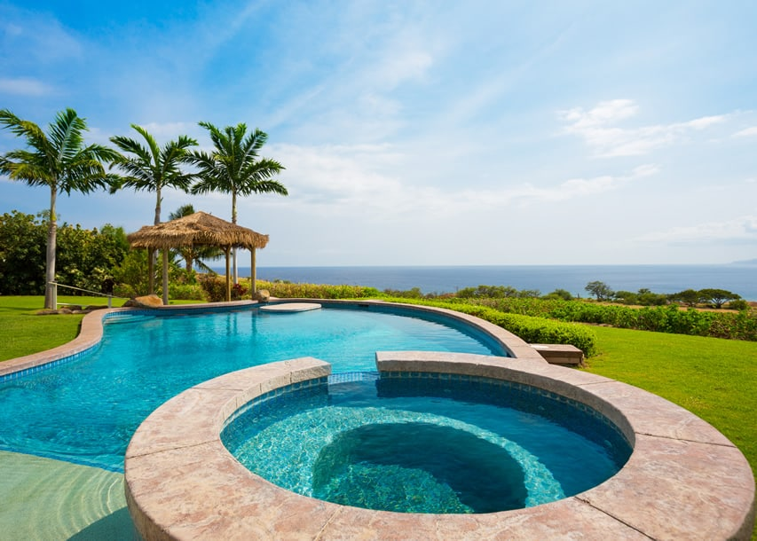 Light blue pool with ocean view and thatched cabana