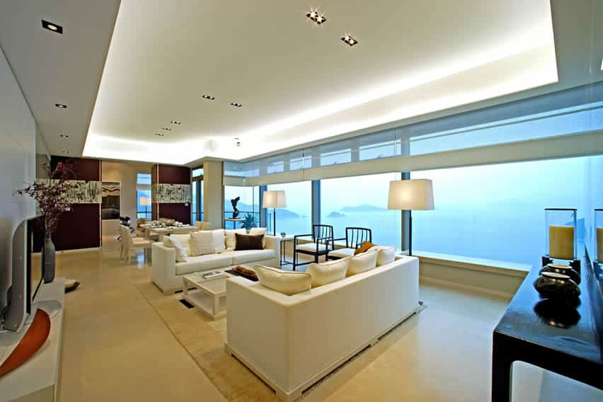 Living room with amazing ocean views and modern furniture