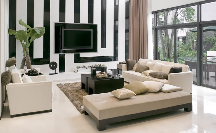 living room with black and white striped wall and modern furniture black white living room furniture