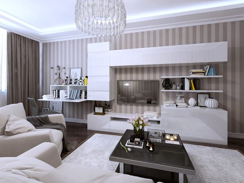 Living room with modern design and glass chandelier