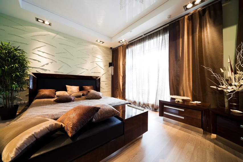 Luxurious bedroom brown color tones