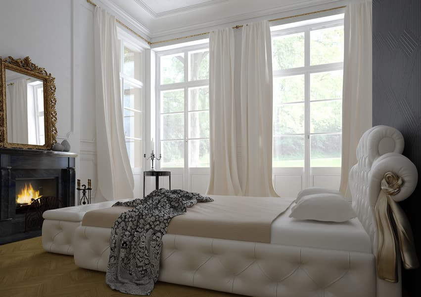 Luxury modern bedroom white bed curtains