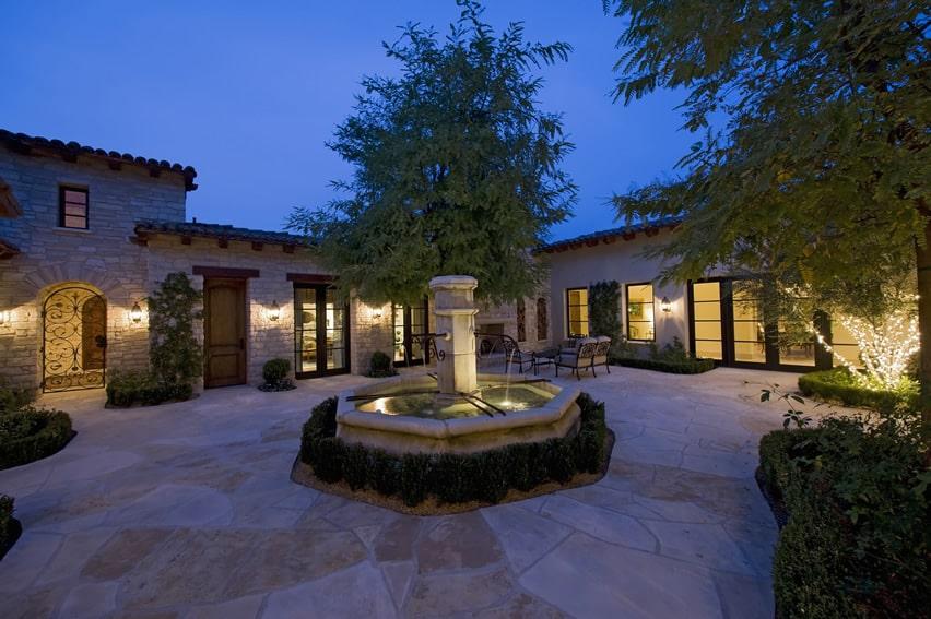 Beautiful open patio with decorative fountain