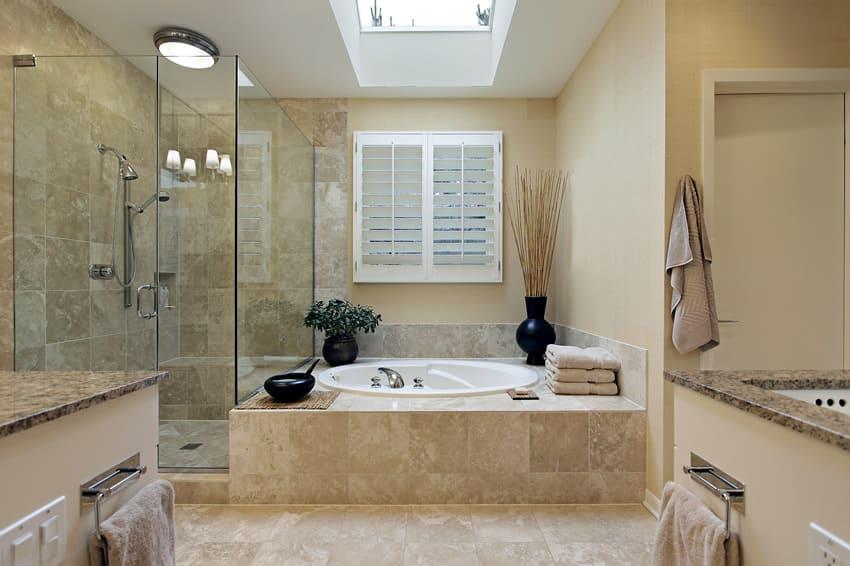 Simple luxury bathroom with Baltic brown granite