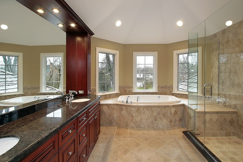 Master bathroom large shower tub granite counter tops for Huge master bathroom