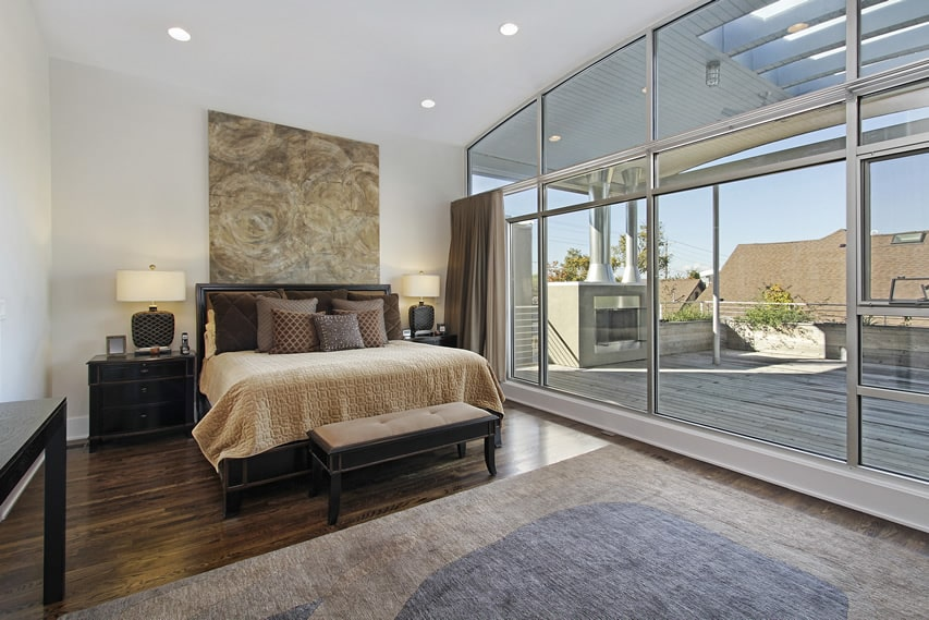 Master bedroom with deck view