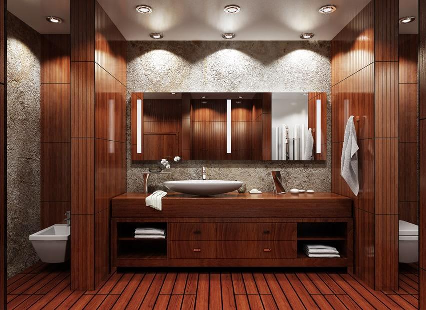 Asian-inspired modern bathroom in mahogony wood