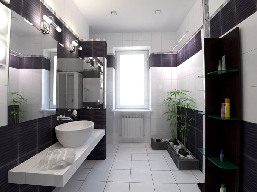 Very modern bathroom design with a bit of Asian zen inspiration