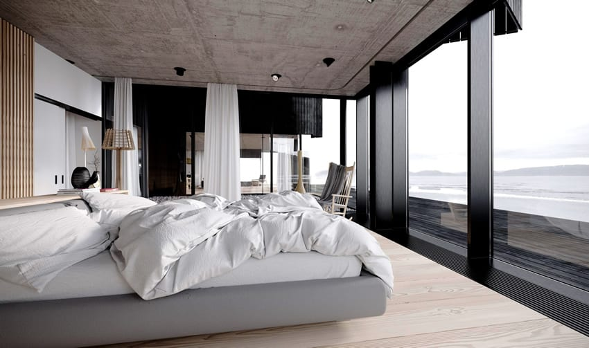 Modern bedroom beautiful water view