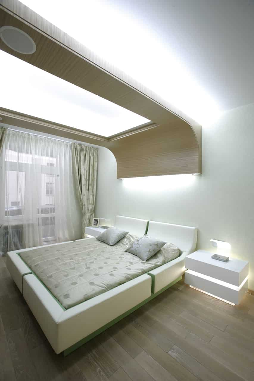 Modern bedroom downtown city