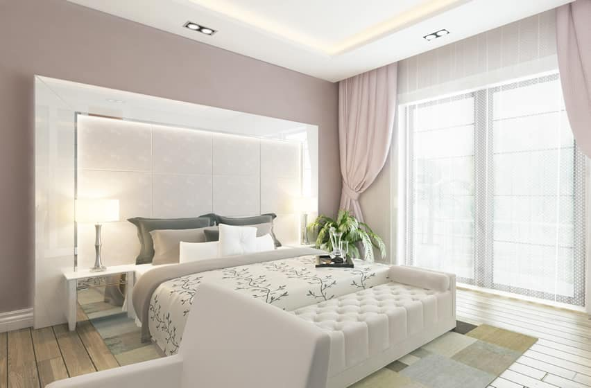 Modern bedroom in pink white