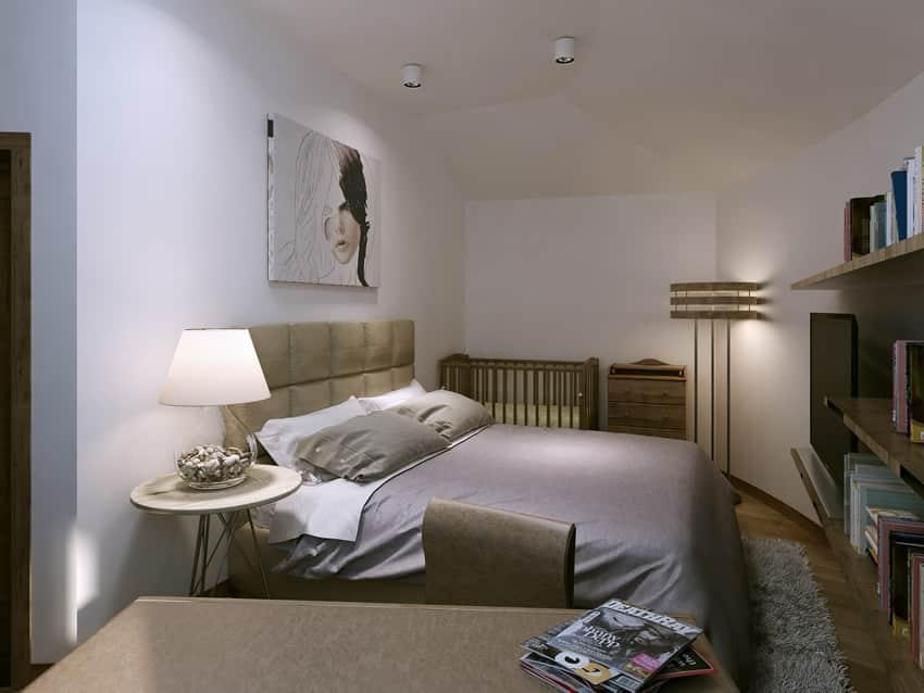 Modern bedroom interior design shelving