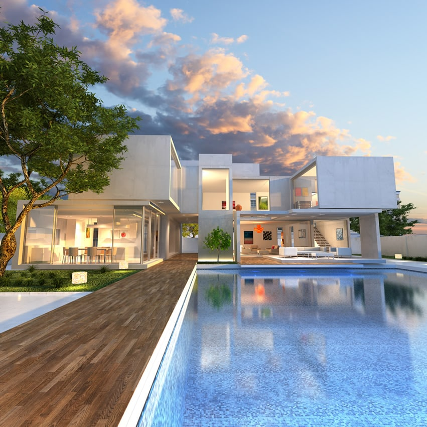 Modern design house with swimming pool