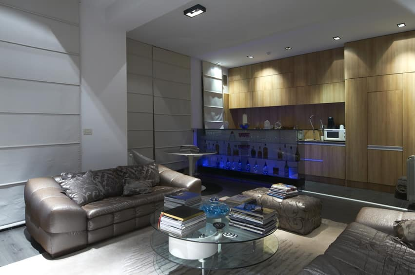 Modern living room with neon bar