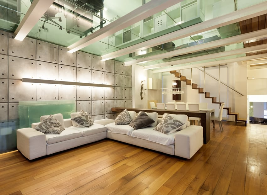 Modern living room with wood floors and glass ceiling
