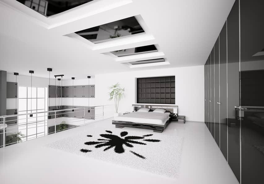 Modern loft bedroom black white design style