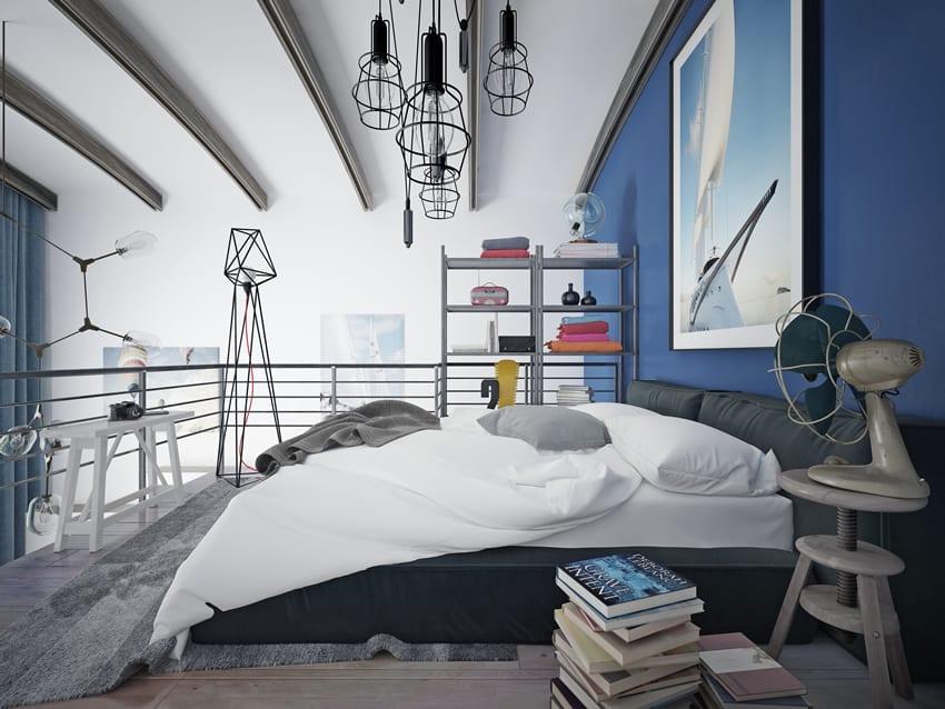 Modern loft bedroom blue theme