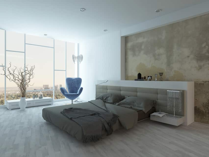Modern luxury bedroom city view