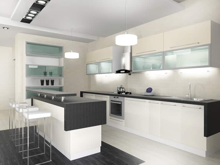 Modern small kitchen black white