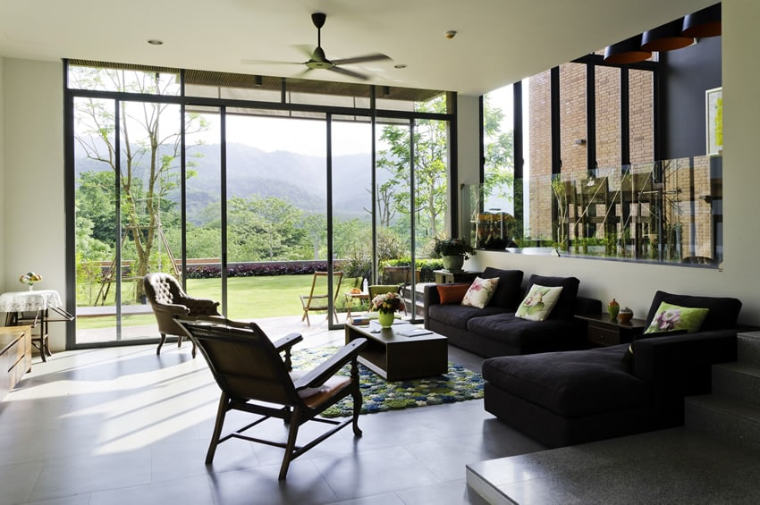 Mountain home living room with amazing outdoor views