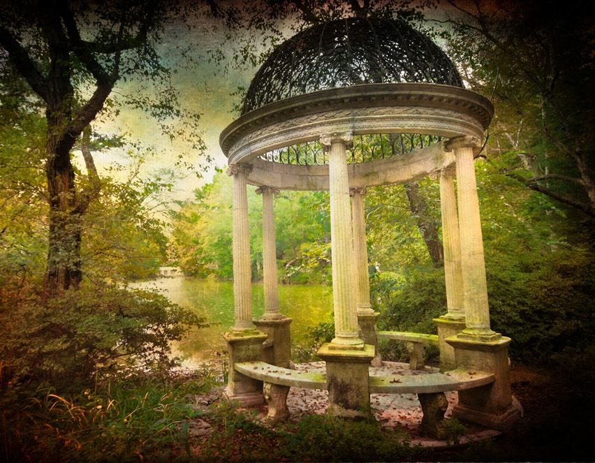 Mystical gazebo with white pillars with lake view