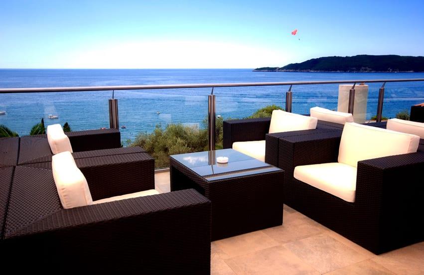 Oceanview patio with modern outdoor furniture