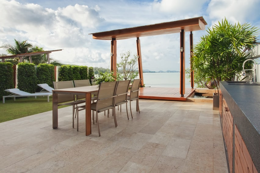65 Patio Design Ideas Pictures and Decorating  : oceanfron patio outdoor kitchen gazebo from designingidea.com size 852 x 568 jpeg 165kB