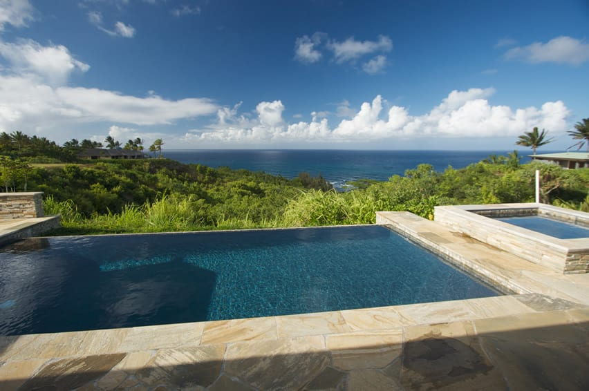 Oceanview pool in a tropical setting