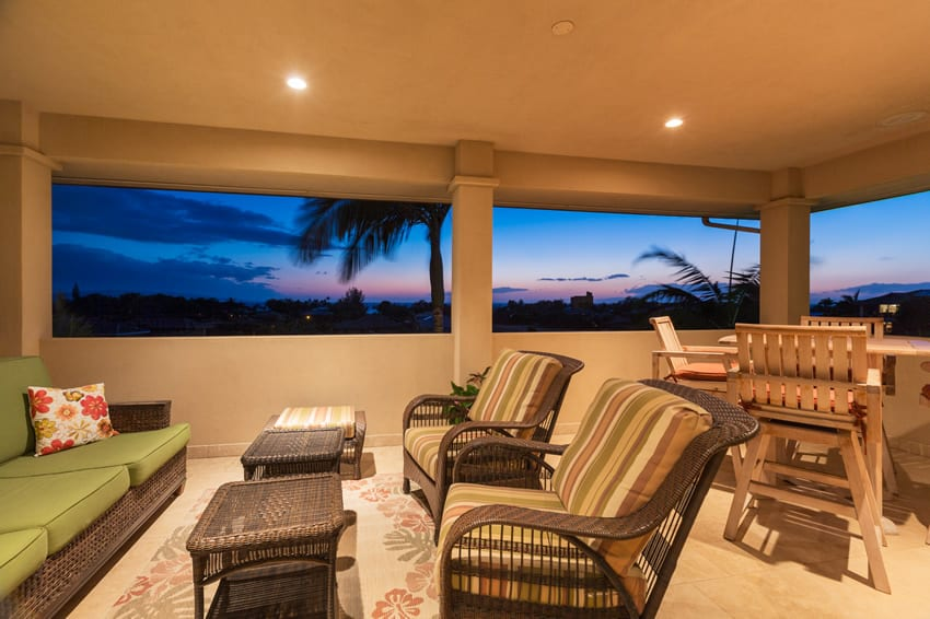 Beautiful outdoor living room patio area with expansive views