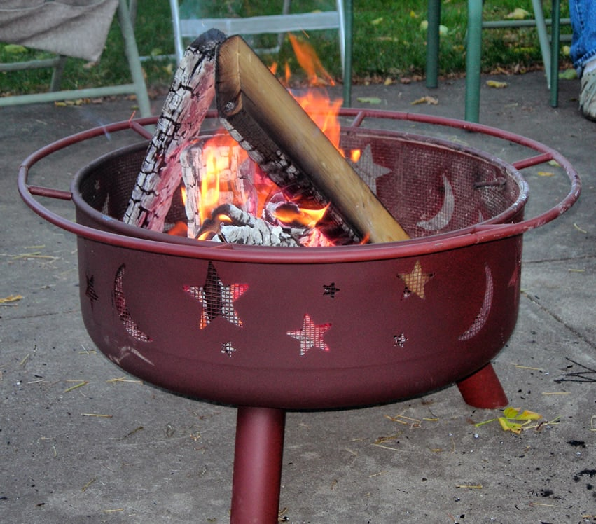 Portable metal fire pit with star design