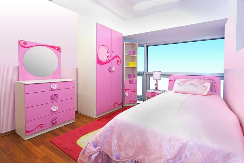 Colorful girl's room with large picture window