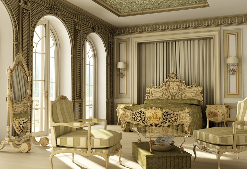 Regal luxury bedroom in palace home