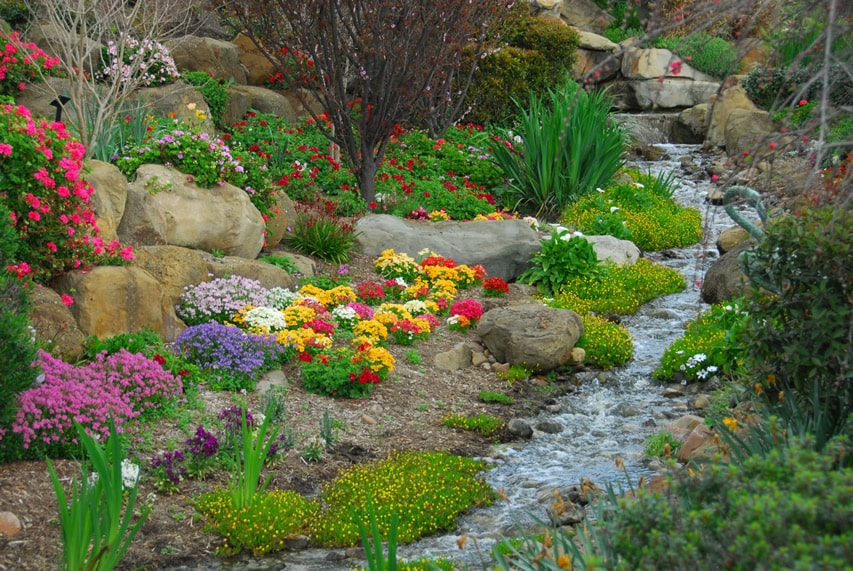 Rock garden with flowers and running water feature stream