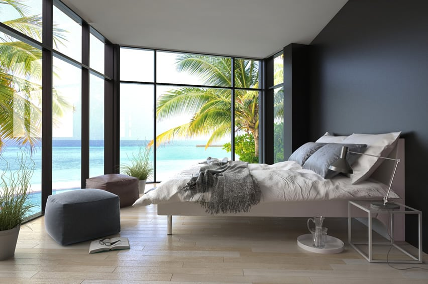 Tropical paradise modern bedroom ocean view