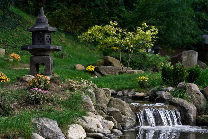 Water feature stream in japanese garden