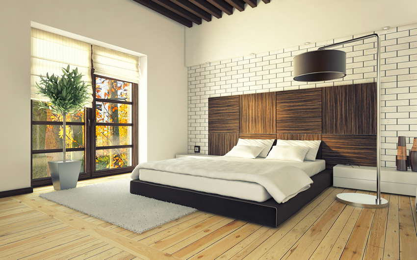 White brick wall modern bedroom design