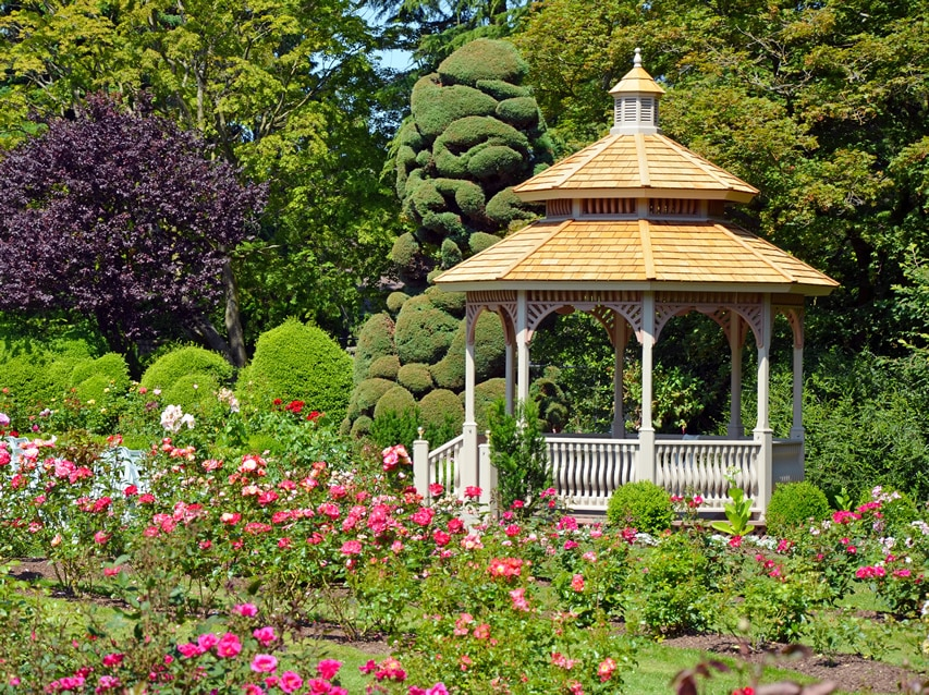 White gazebo in flower garden