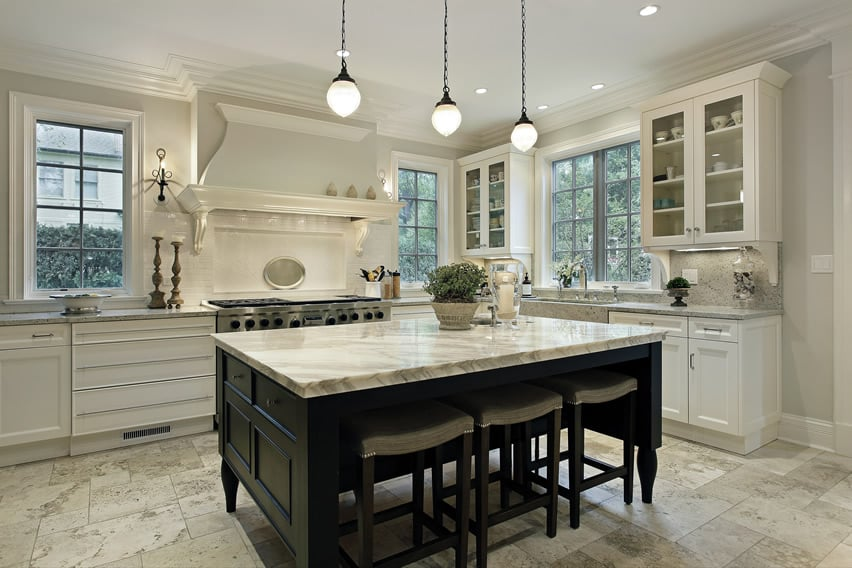 Luxury black and white kitchen cabinet design with thick marble island