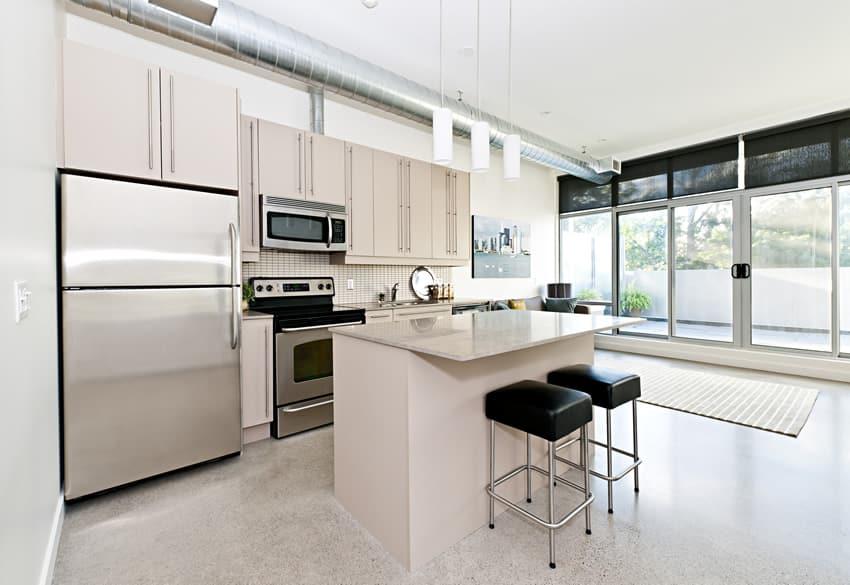White small size kitchen island barstools
