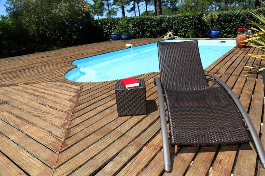Wood deck surrounding pool