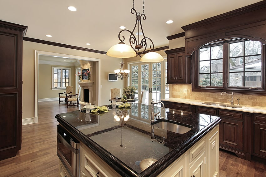 143 luxury kitchen design ideas designing idea for Brown kitchen cabinets with black granite