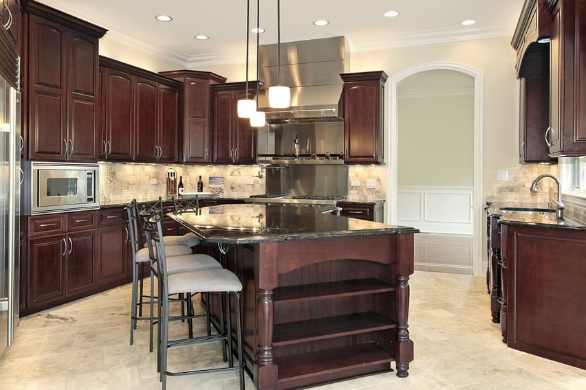 Cherry wood kitchen with large island