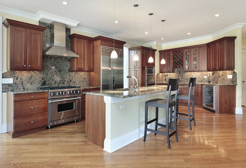 Custom kitchen design in expensive home