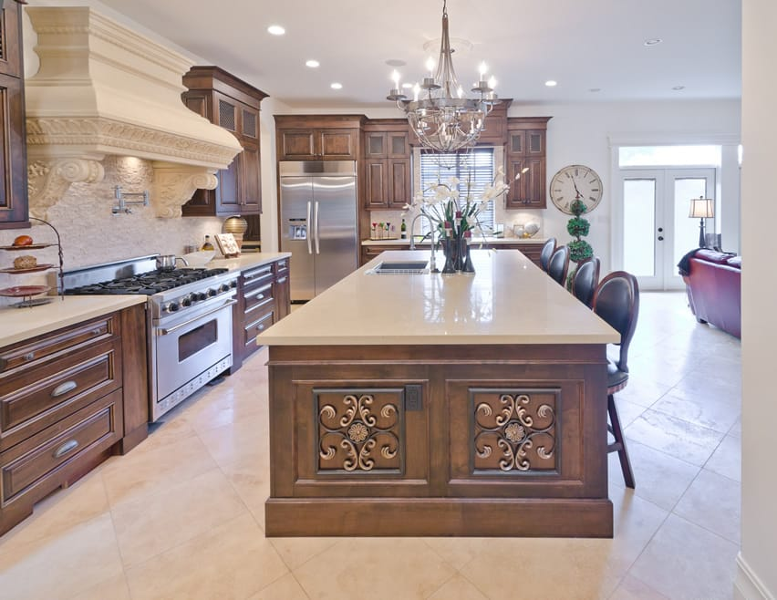 Elegant luxury kitchen with large quartz island
