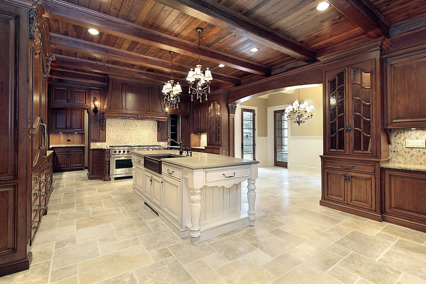 Expansive luxury kitchen exposed wood beams